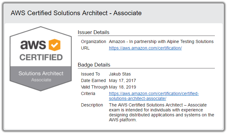 AWS Certified Solutions Architect - Associate - Jakub Staš